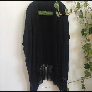 Aritzia Talula black fringe kimono cardigan